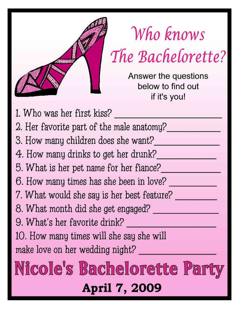 Sweet image within printable bachelorette games