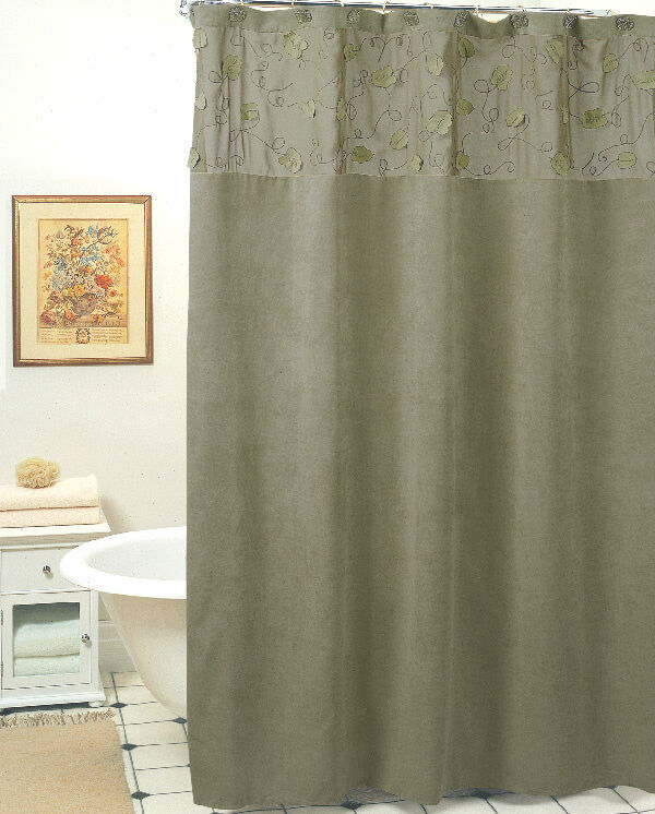 Morning Leaf Suede Fabric Shower Curtain Sage Green New Creative ...