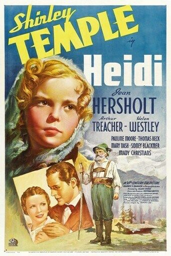 heidi movie poster shirley temple rare hot vintage ebay