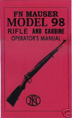 fn mauser model  rifle carbine gun manual ebay