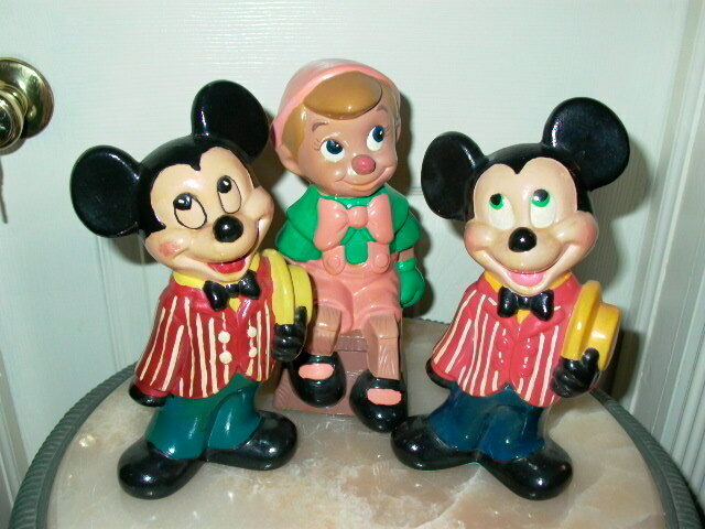3 Walt Disney Mickey Mouse Pinocchio Ceramic Figurines Ebay