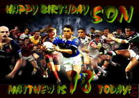 Personalised  Son, Rugby Birthday Card Large A5 any age