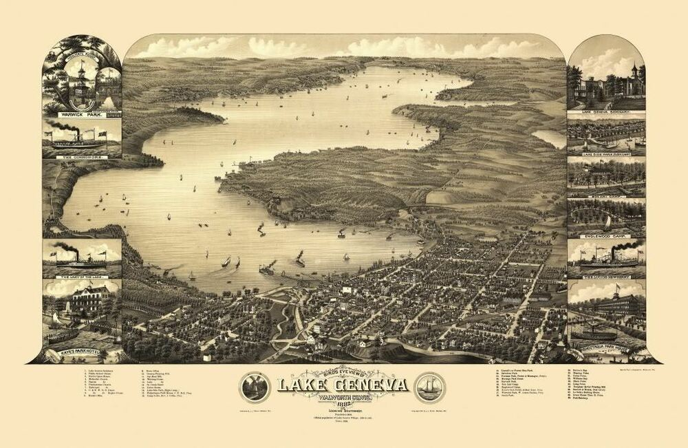 Offer Up San Diego >> 24x36 Vintage Reproduction Map Lake Geneva Wisconsin ...
