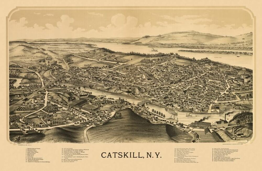 24x36 Vintage Reproduction Historic Map Catskill New