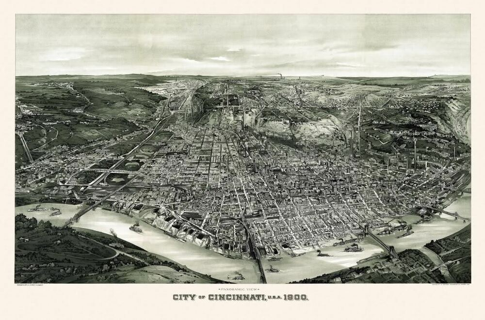 24x36 vintage reproduction historic map cincinnati ohio for Colonial reproduction homes for sale