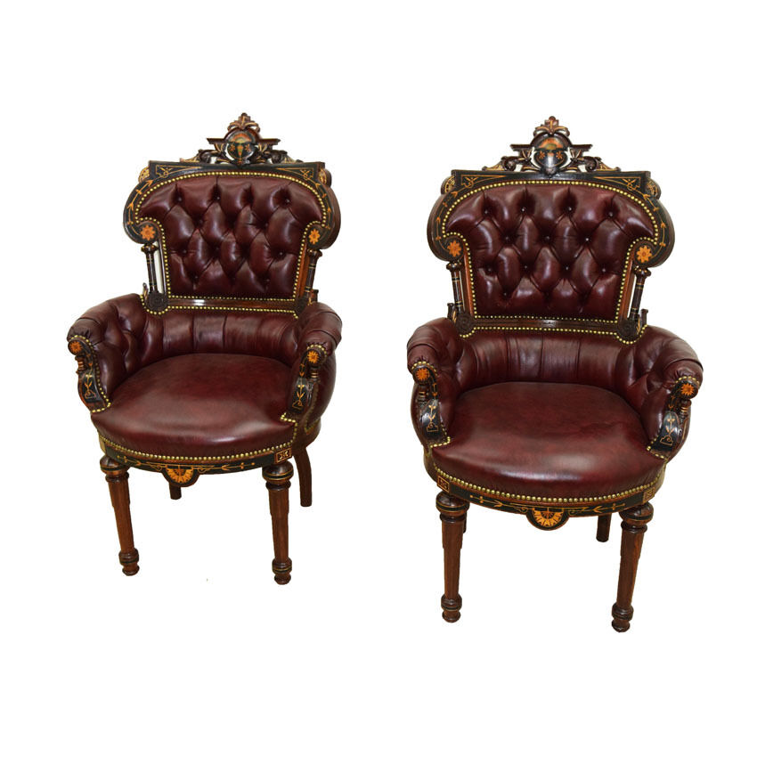 Antique victorian inlaid rosewood clients chairs by for Furniture for sale ebay