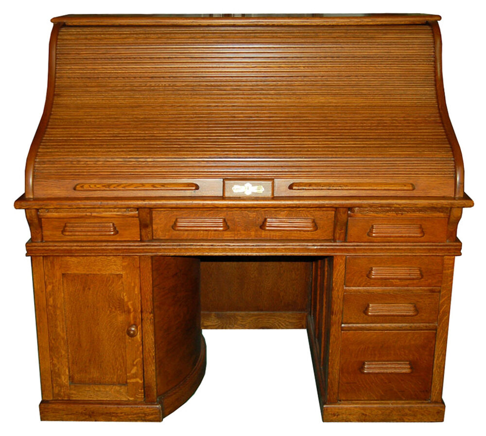 Beautiful Antique 19th C American Oak Rolltop Desk with