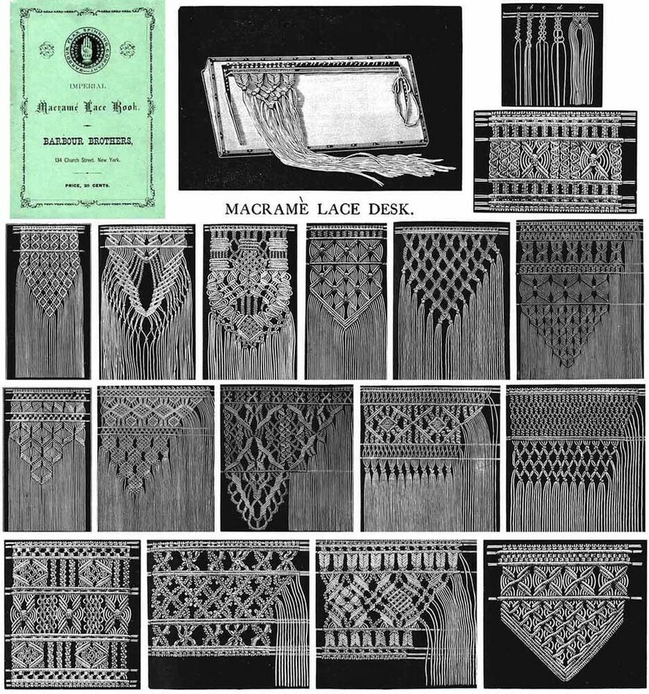 Macrame Book Victorian Patterns Instructions Table 1878 Ebay