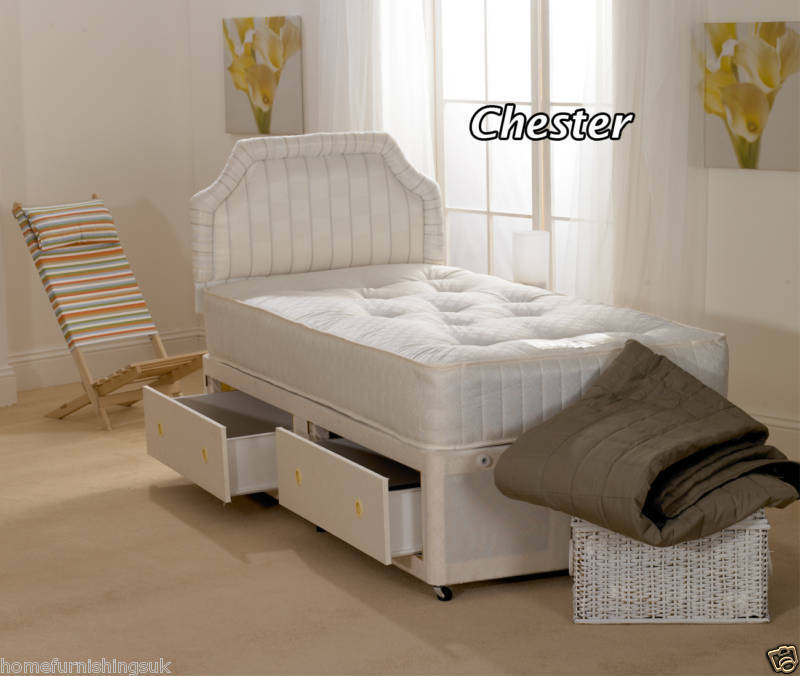 Special 3ft single chester divan bed 2 free drawers ebay for Single divan with drawers and headboard