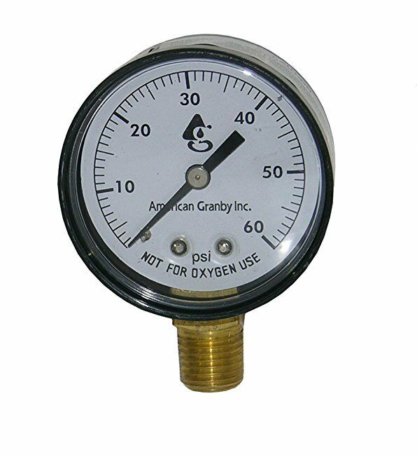 Side mount 60lb filter pressure gauge with 1 4 034 pipe - Swimming pool filter pressure gauge ...