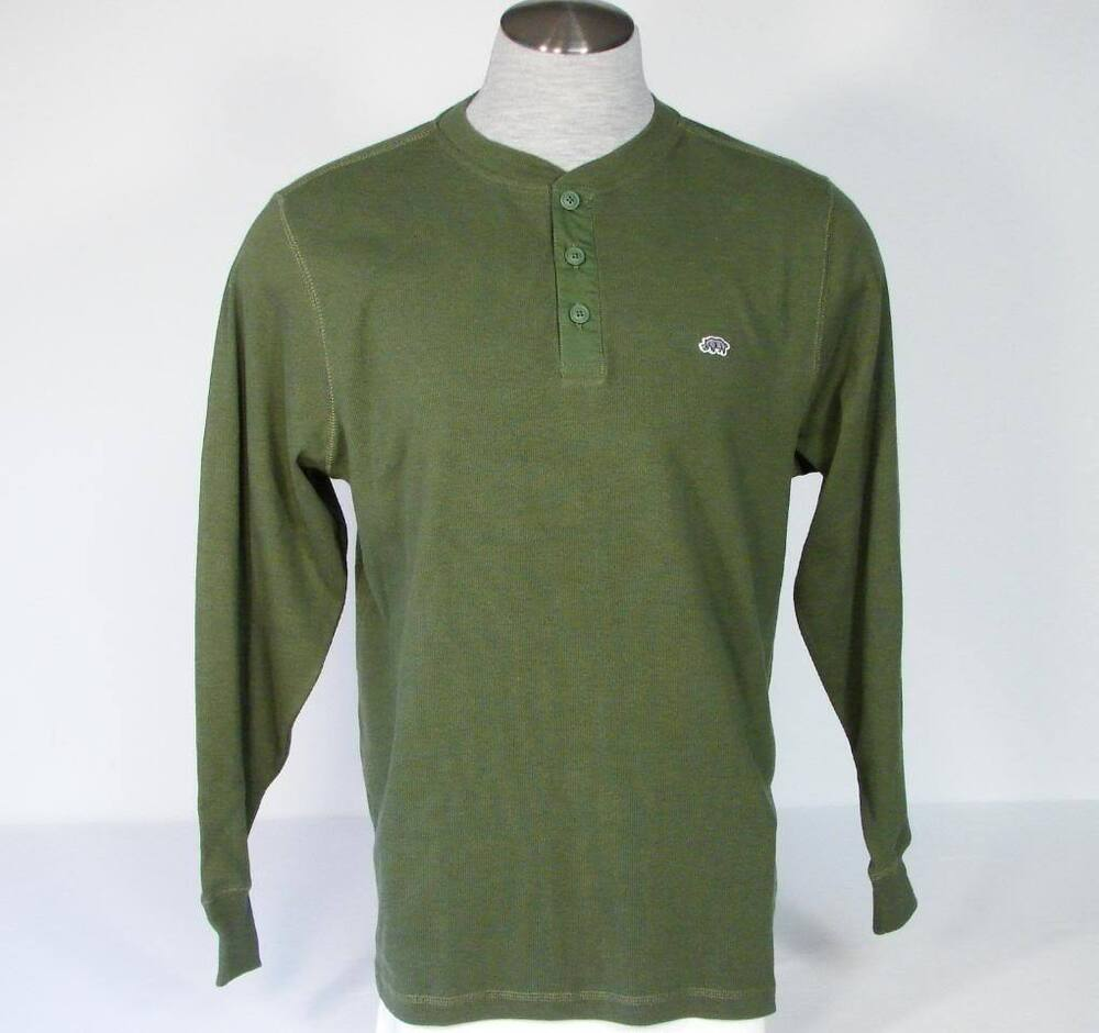 Ecko unltd green long sleeve henley knit polo shirt mens for Mens collared henley shirt