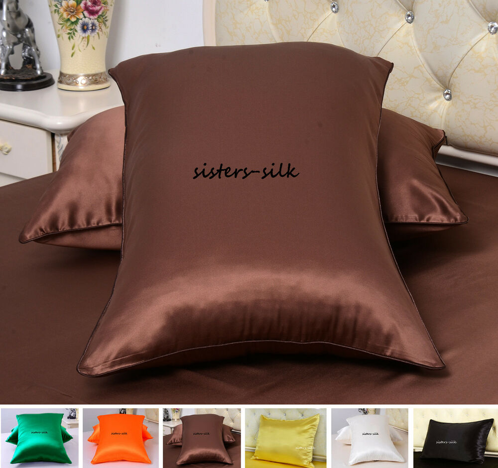 2 Pcs 22mm 100 Silk Pillowcases Side Zipper Closure