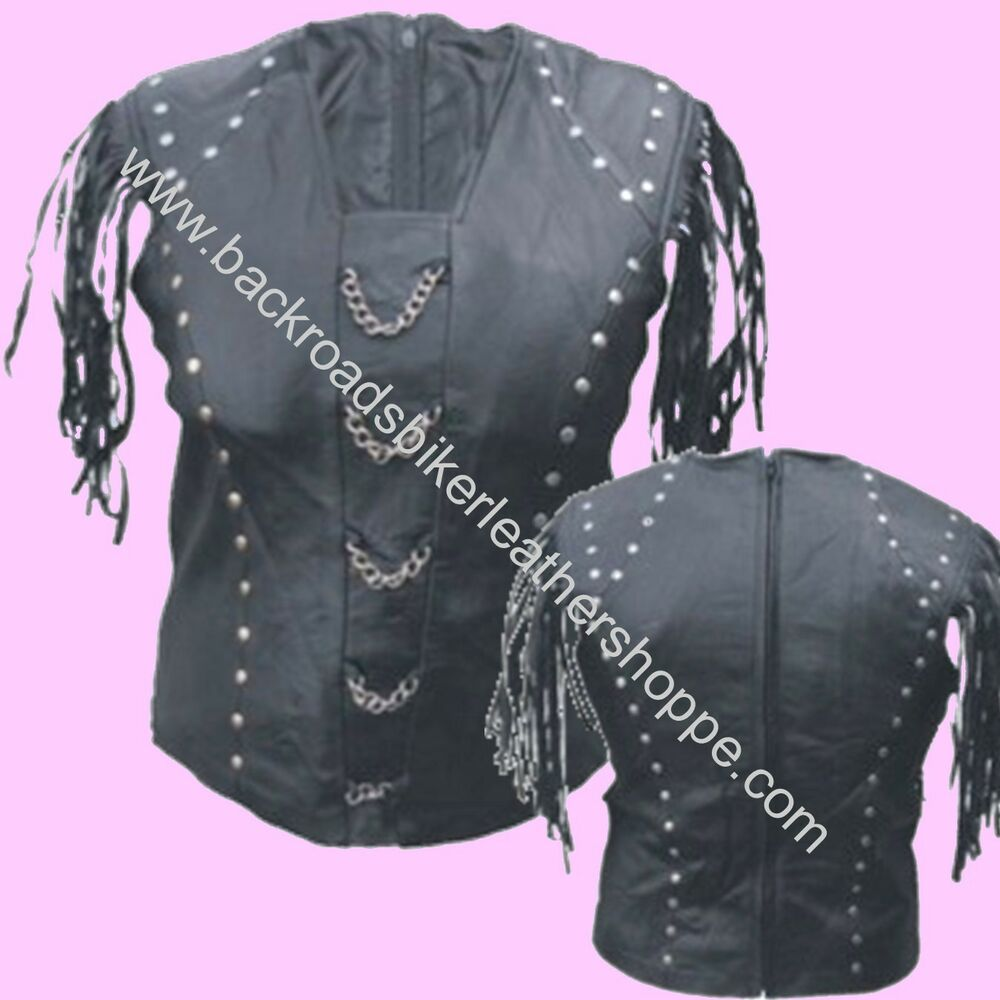 Ladies womens leather shirt top chains studs biker club ebay for Red leather shirt for womens