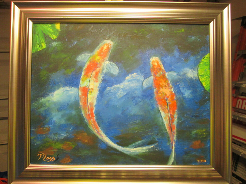 Original oil painting koi fish pond clouds art mazz 16 x for Fish paintings on canvas