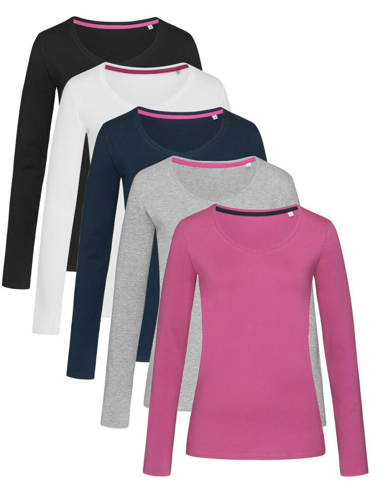 Ladies womens womans cotton long sleeve vee v neck tee t for Womans long sleeve shirts