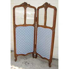 19th Century French Walnut 2 Panel Screen With Glass    MAGNIFICENT