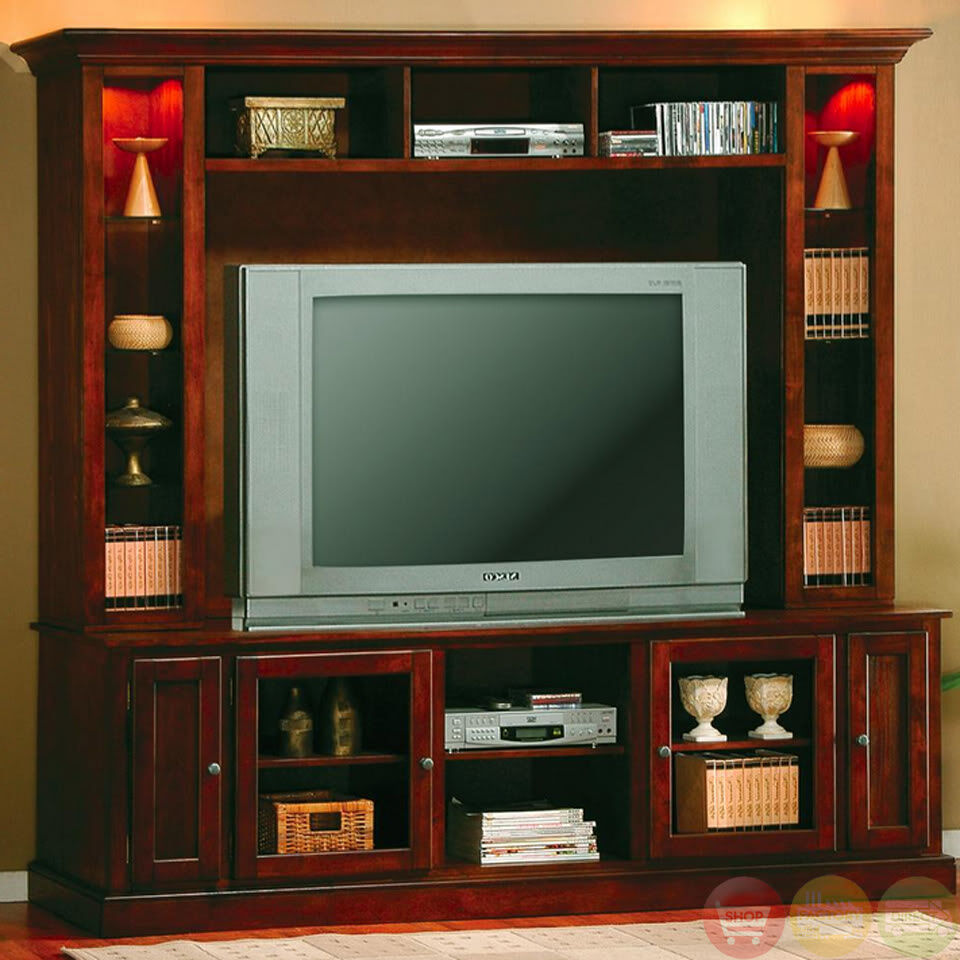 Transitional Entertainment Center Wall Unit W Hutch Holds