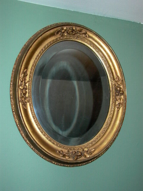 Antique Oval Mirror With Gold Finish Amp Floral Detail Ebay