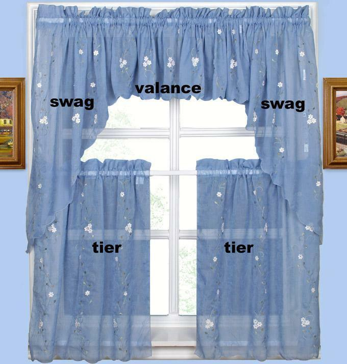"Daisy Embroidery Kitchen Curtain Set-A Blue 5PCS-24""L"