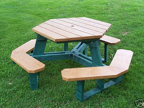 Recycled Plastic Hexagon Picnic Table Outdoor Furniture Cedar And Green Usa Ebay