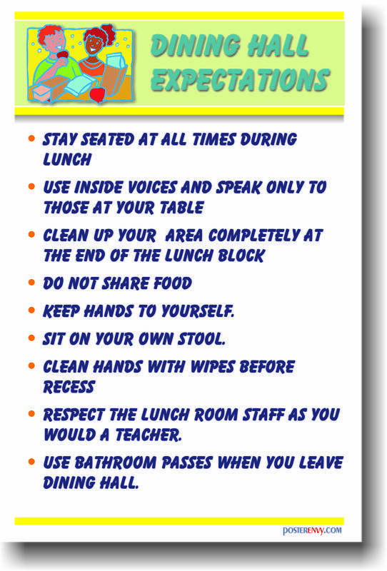 Dining Hall Expectations 3 - Cafeteria Rules POSTER ...