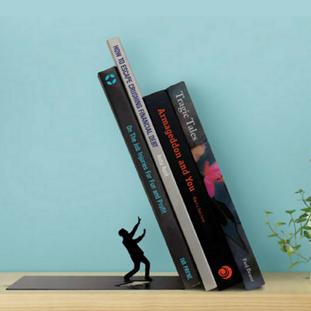Artori Falling Bookend Black Humorous Metal Book Stand Ebay