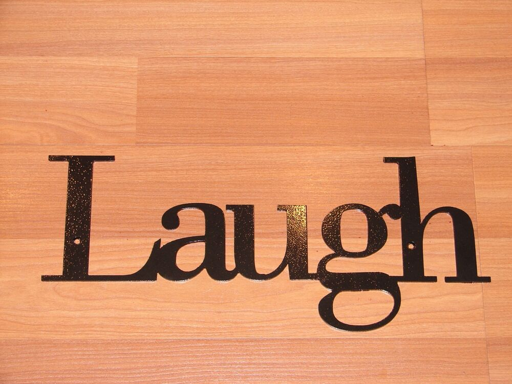 Laugh inspirational wall plaque metal art decor word ebay for Decoration word
