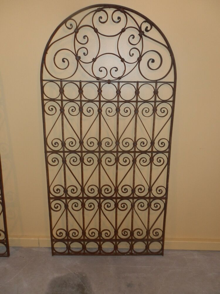 Quot ornate old world arched top wrought iron gate ebay