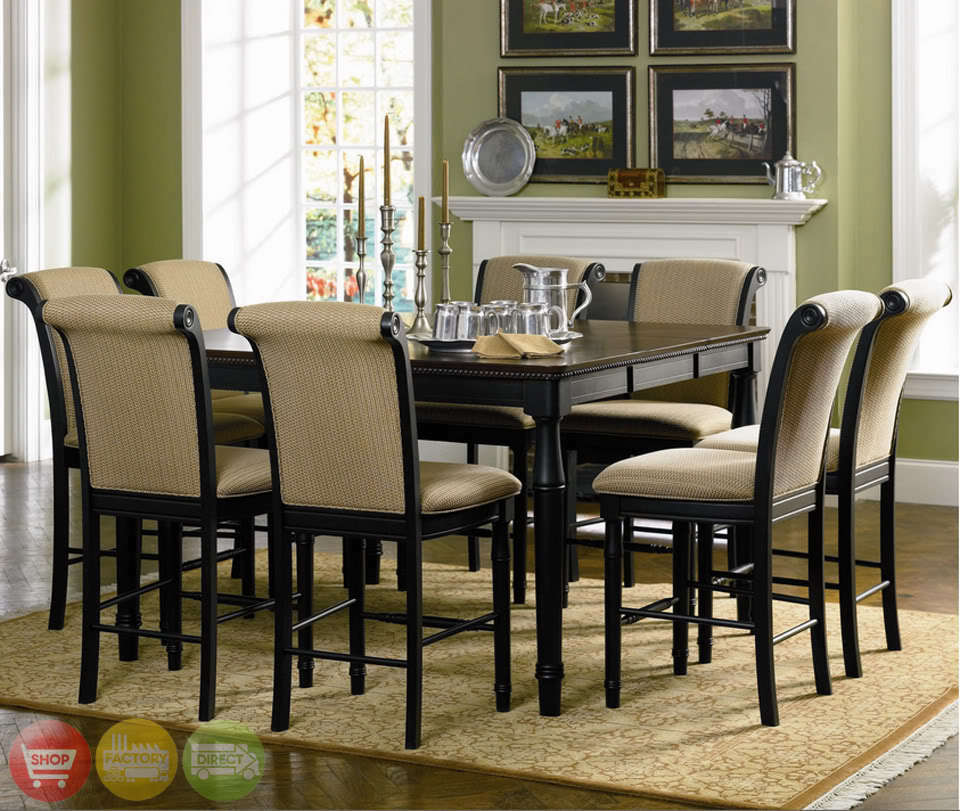 Dinet Set: Two Tone Counter Height Table 9 Piece Dining Room