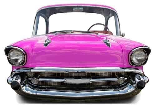 Pink car small child size cardboard cutout standee for Decoration americaine annee 50