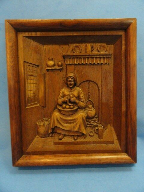 Antique german black forest tyrolean carved wood diorama