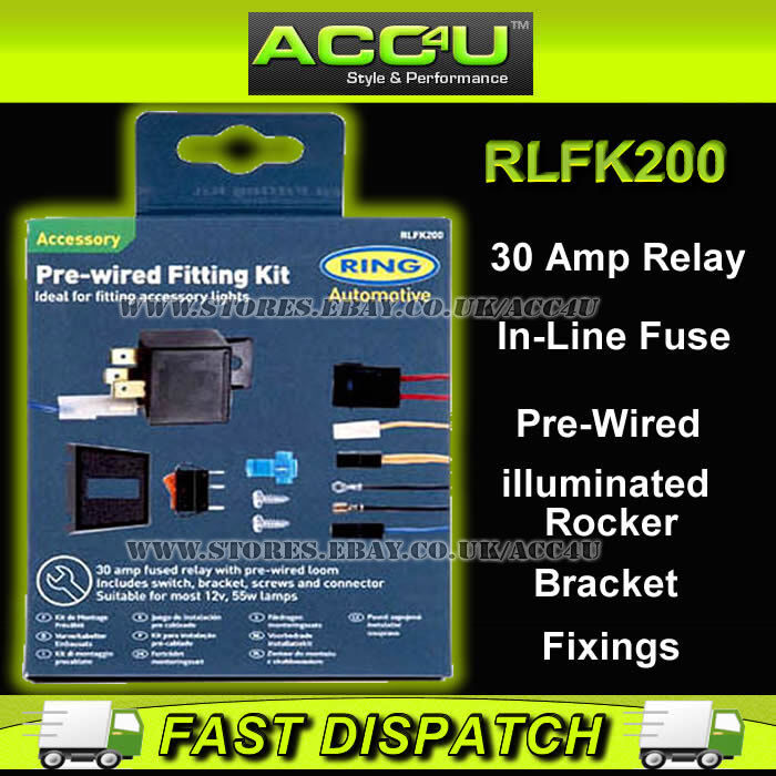 Ring RLFK200 Pre-Wired 12v Car Driving Fog Spot Lamps Lights Wiring ...