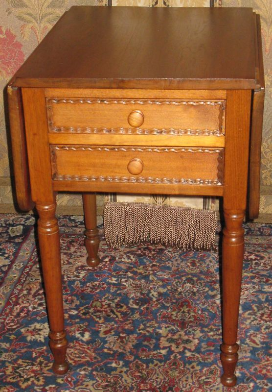 Walnut Work Lamp End Table 2 Drawers Drop Leaves Knob Ebay