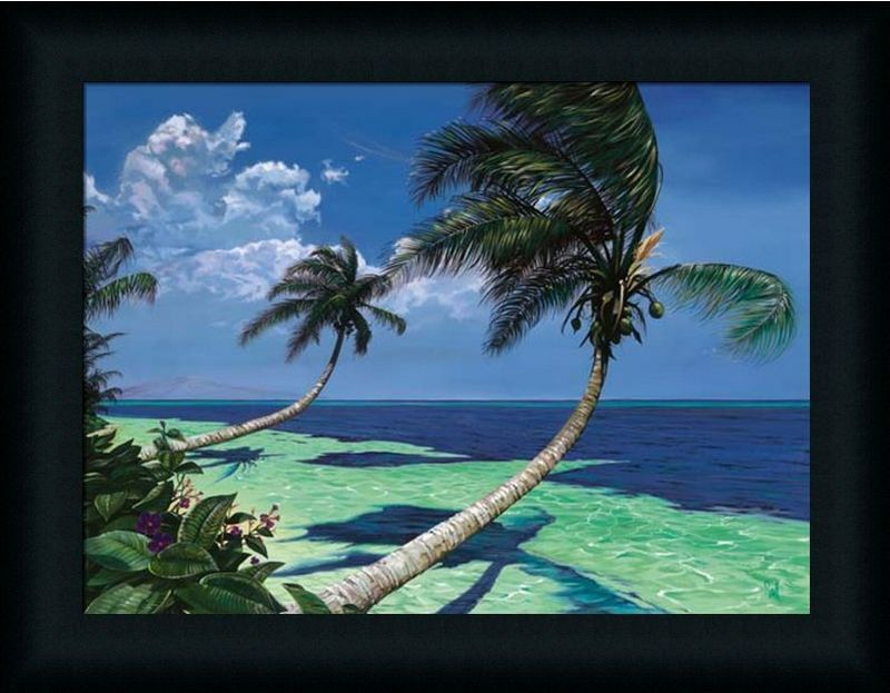 Beckoning Palms Tropical Scene Palm Tree Framed Art Print