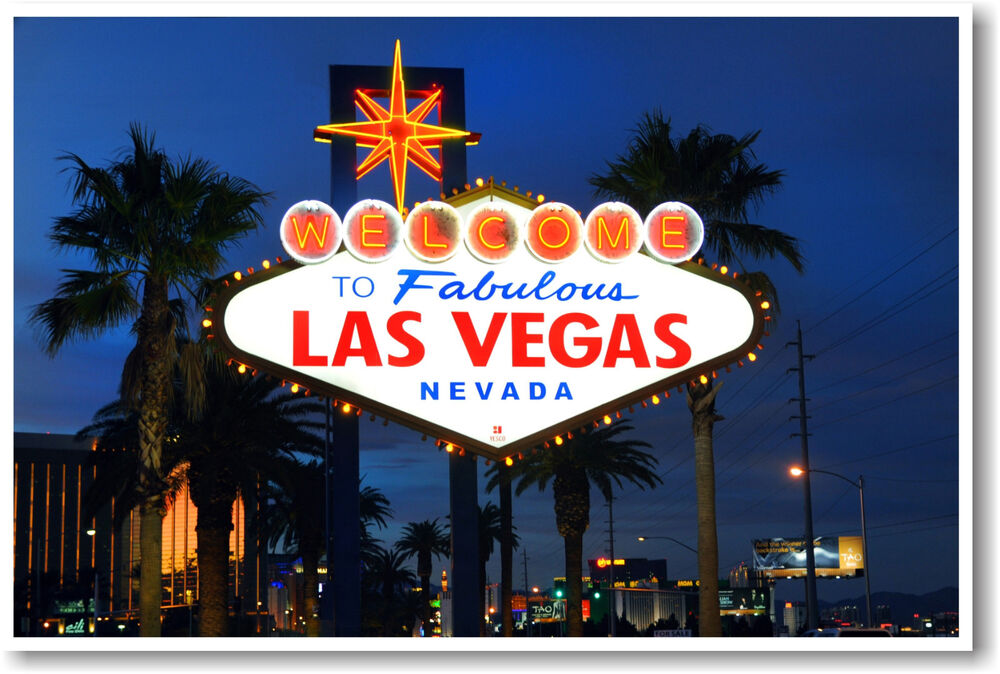 welcome to fabulous las vegas nevada travel poster ebay. Black Bedroom Furniture Sets. Home Design Ideas