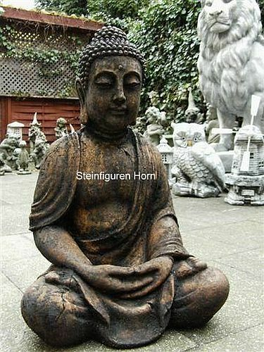 antik buddha patiniert gro aus steingu f r koi teich 4014 garten figur ebay. Black Bedroom Furniture Sets. Home Design Ideas