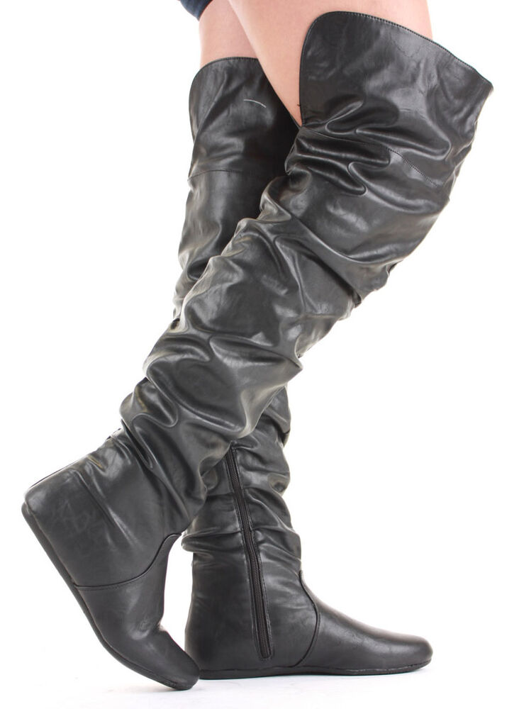 womens the knee flat thigh high boots size ebay