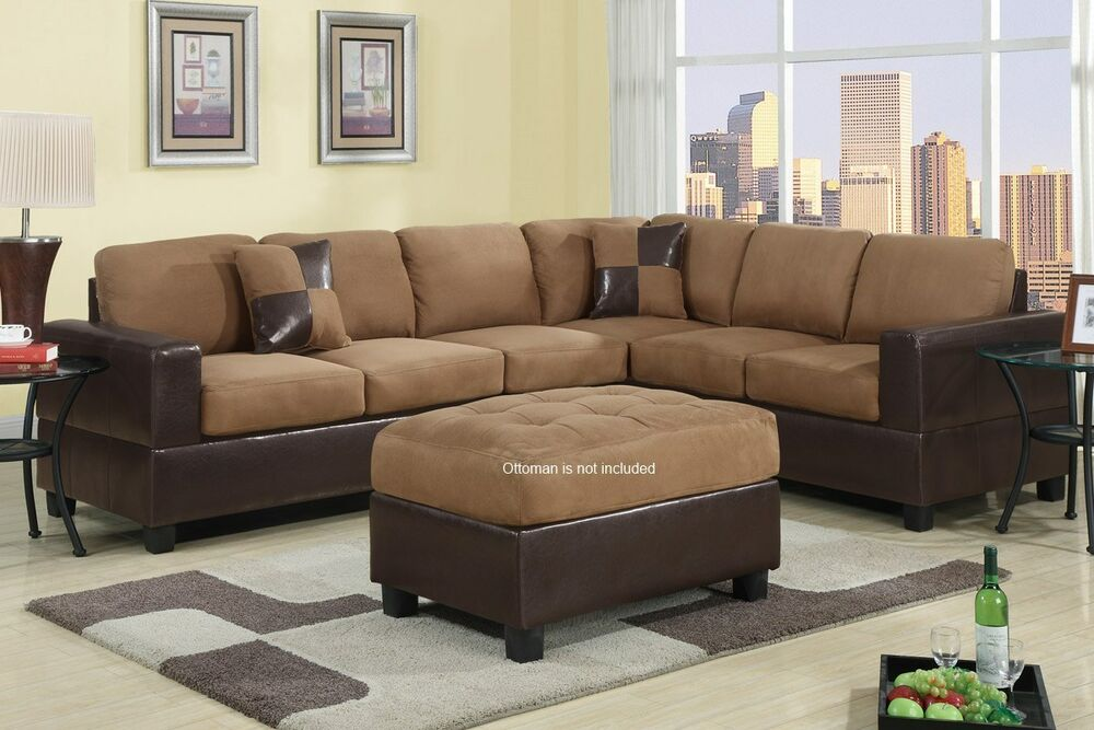 sectional sofa couch l shape set chair bobkona trenton ebay. Black Bedroom Furniture Sets. Home Design Ideas