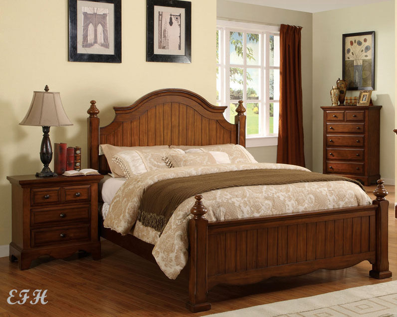 New Palm Coast Cottage Style Cherry Oak Wood Panel Bed Ebay