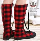 PUNK Laceup KNEE-HI Sneaker boot RED CHECKER Checkered