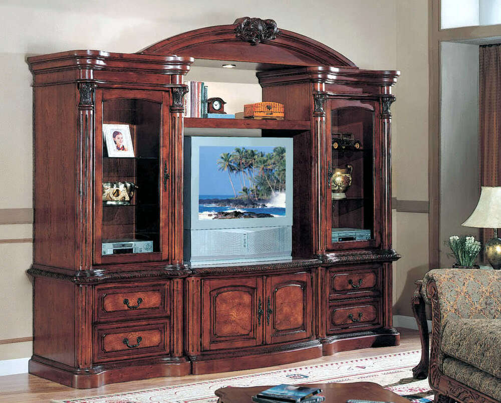 Large tv entertainment center wall unit cherry finish ebay for Large tv wall units