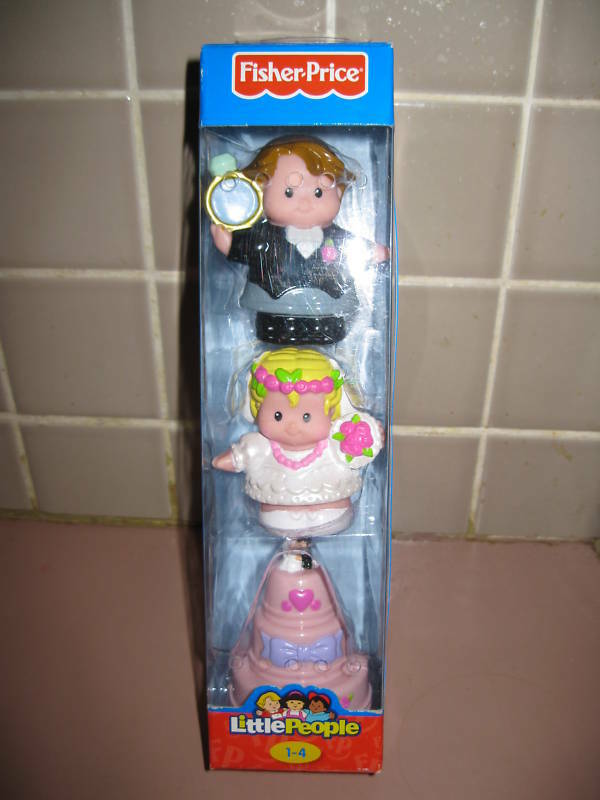 Fisher Price Little People Wedding Bride Groom Cake Set Sounds Topper New