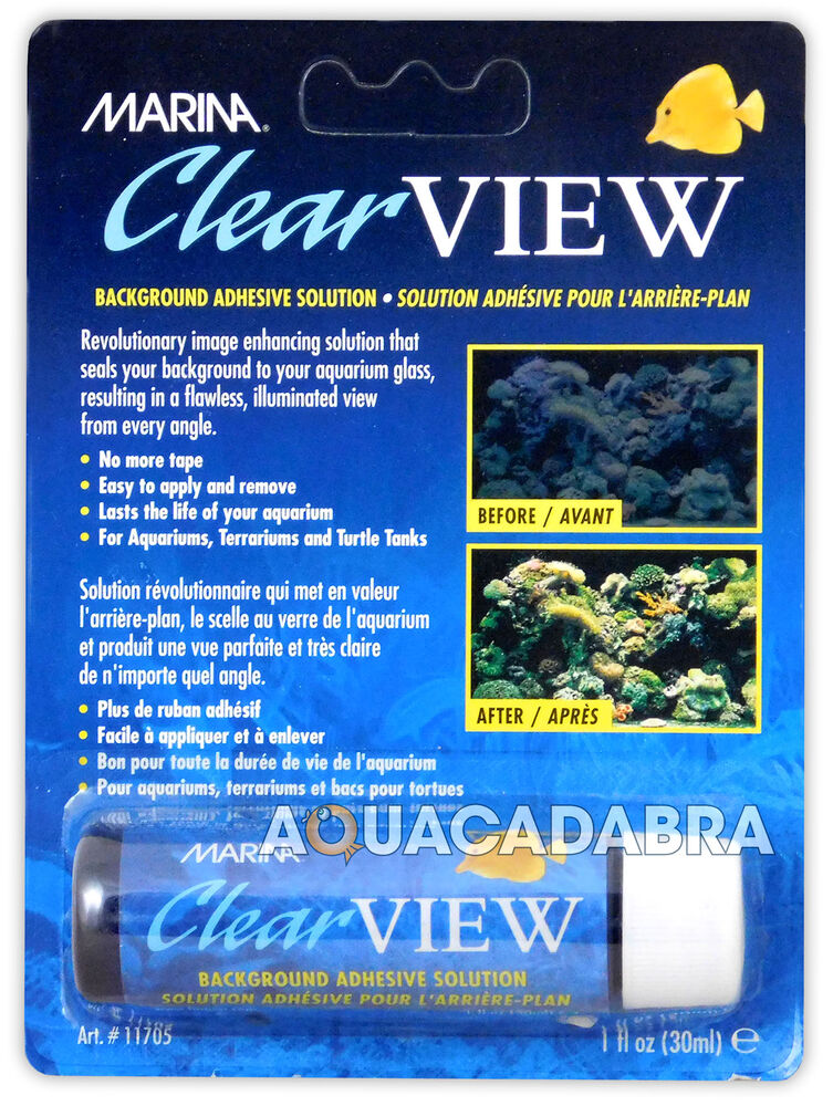 Marina clear view background adhesive answer no tape for Fish tank glue