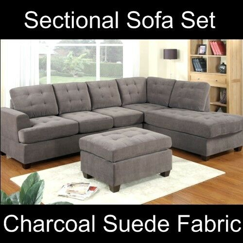 Modern Grey Sectional Sofa Couch Set Furniture Charcoal Ebay