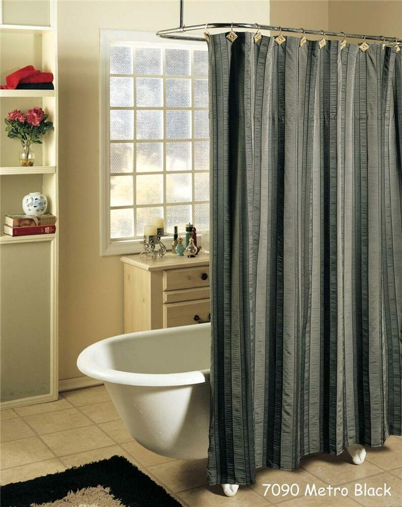 Metro Stripe Black Gray Fabric SHOWER CURTAIN FREE S&H