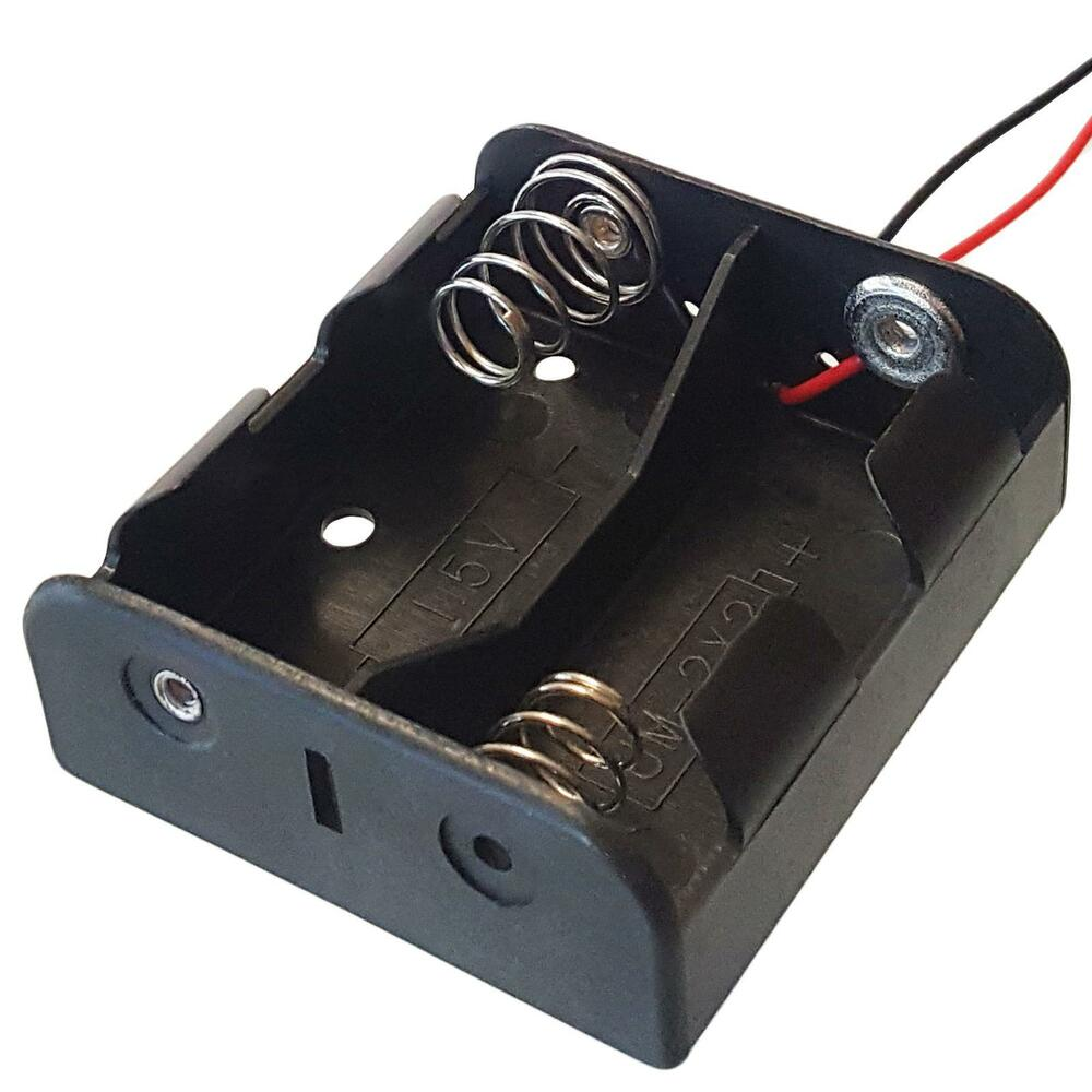c type x 2 battery holder black with 12cm leads ebay. Black Bedroom Furniture Sets. Home Design Ideas