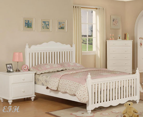 New white cottage style twin or full wood kids bed ebay for New style bed