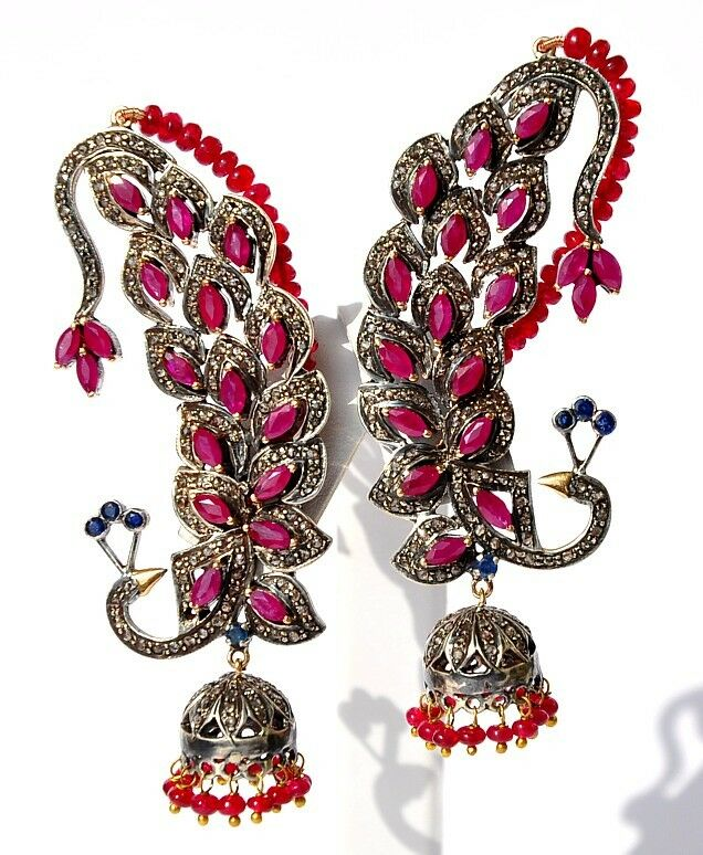 goegeous 14kt ruby diamond peacock victorian earrrings ebay. Black Bedroom Furniture Sets. Home Design Ideas