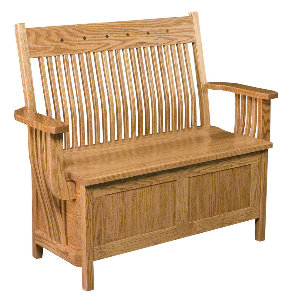 Amish oak bench wooden wood entry benches storage seat ebay for Chair with storage