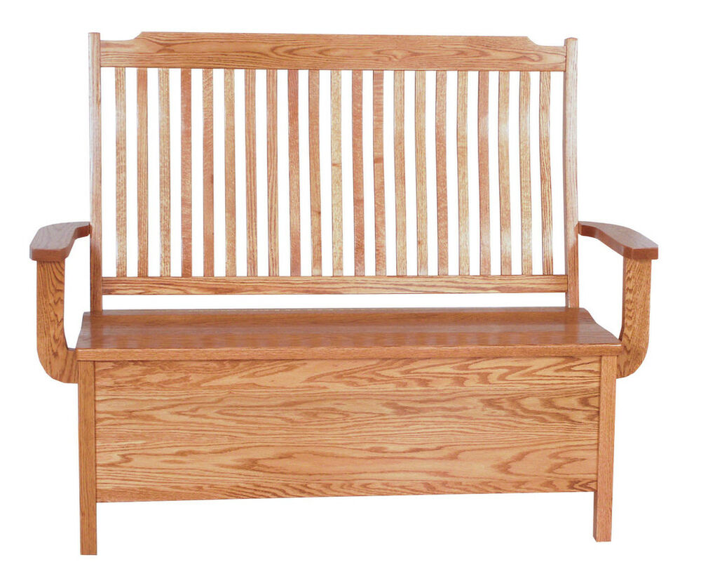 Mission oak benches indoor furniture wooden storage new ebay Oak bench